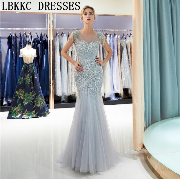 7d7c845ac298 Abendkleider 2018 Grey Gold Tulle Mermaid Evening Dresses Sleeveless Heavy  Handly Sew Beads Vestido De Festa Longo Formal Dress