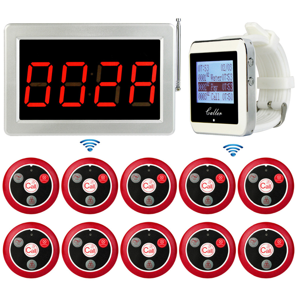Wireless Pager Restaurant Calling System TIVDIOVoice Reporting Receiver Host+Watch Wrist Receiver+Call Transmitter Button 433MHz 999ch restaurant pager wireless calling system 35pcs call transmitter button 4 watch receiver 433mhz catering equipment f3285c