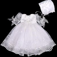 New White Baby Girls Dress Christening Birthday Gown 0 2T Toddler Christmas Dresses Kids Casual Clothes Vestido with Hat