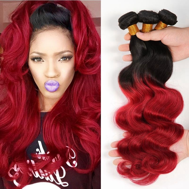 Brazilian Virgin Burgundy Ombre Hair Extensions 3pcs