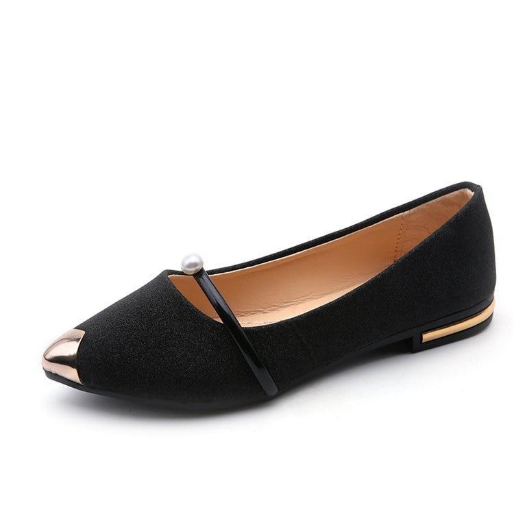 Loisirs Appartements Solide Chaussures Décontracté Pointu Slip argent Décoration Noir Mocassins Femmes De D'été Pour on Bout or Flock Mode Classiques Métal xCnqwfYE1O