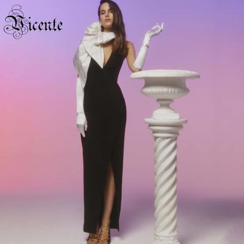 Vicente 2019 nouveau Chic couleur bloc grand arc conception Sexy col en V dos nu sans manches Vestido célébrité fête Club Maxi longue robe