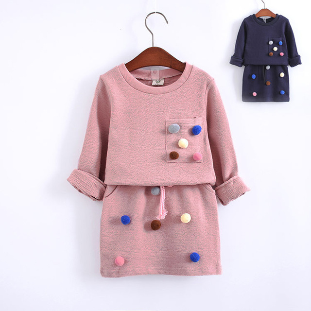 Девушки зимняя одежда набор с длинным рукавом с мячом с юбка-карандаш розовый и голубой цвет модной одежды набор детей дети