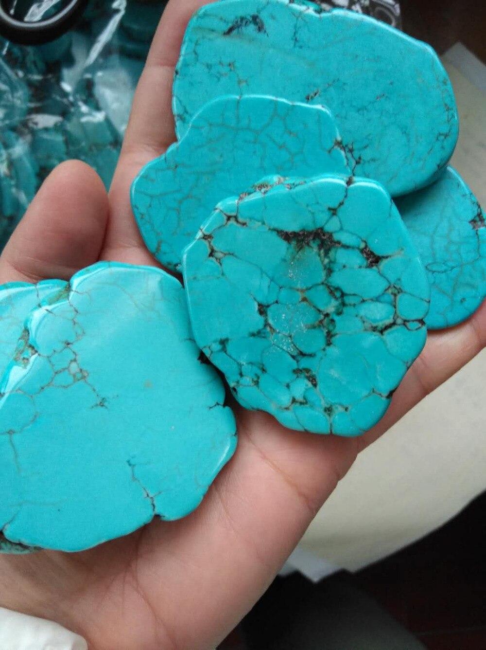 50 pcs naturel 40-60mm dalle Pop Grip téléphone prise grande ceinture boucle Turquoise pierre pépites pierre de forme libre