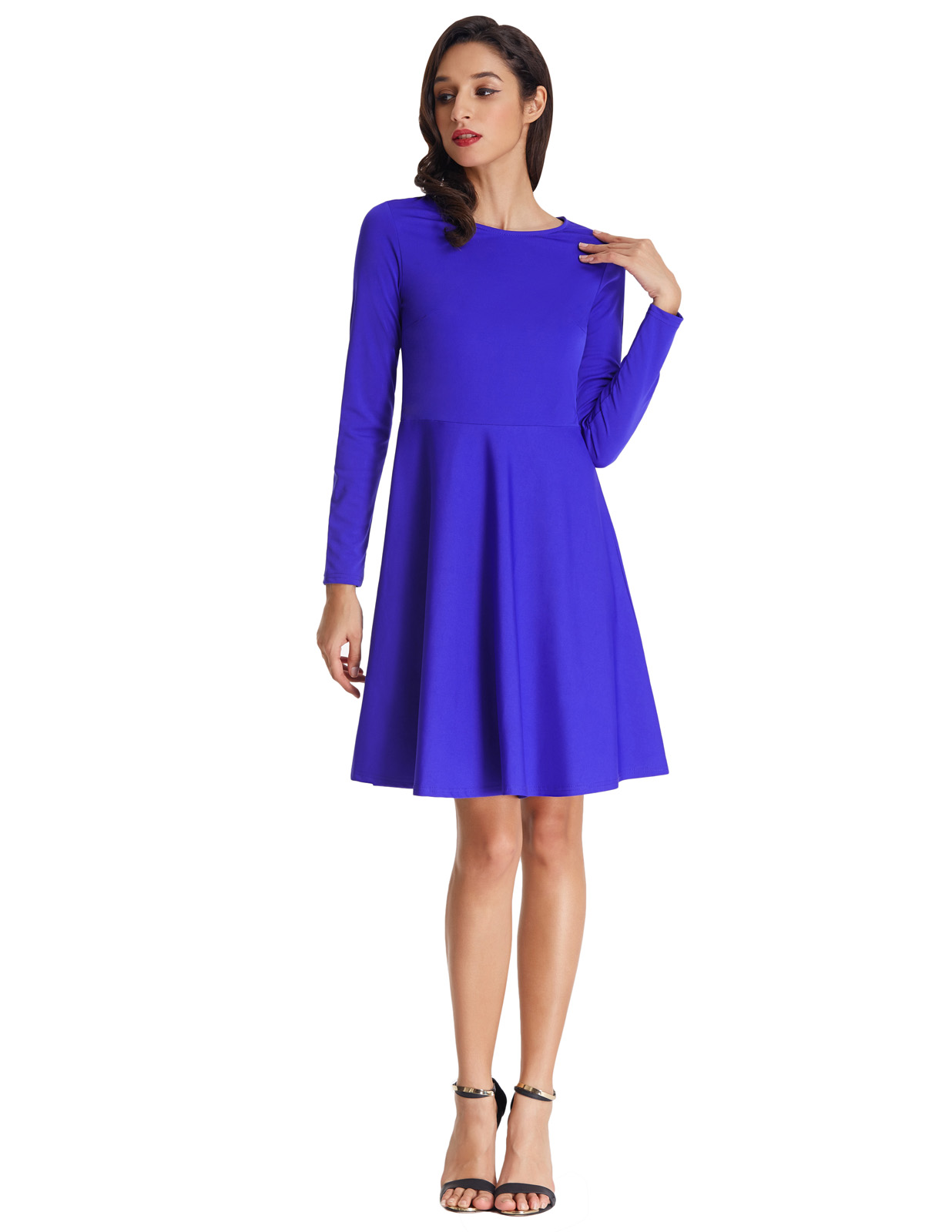 retro vintage Woman dress causal Long Sleeve Party Gowns Swing Dress Casual Flared A Line Skater Dress Gift vestidos verano 2018