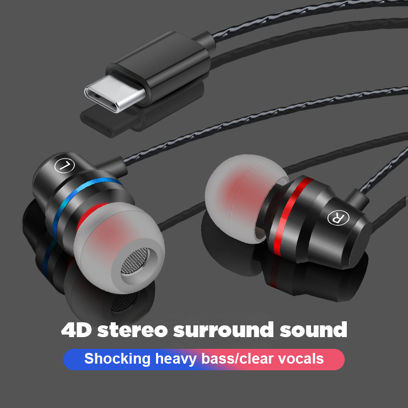 897848f34e3 Portable Mini USB Type-C Earphones 4D Stereo Type C Heaphones Wired Control  With