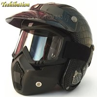 Yeshibation Retro Harley Helmet Four Seasons Motorcycle Personality PU Leather Helmet With Goggles Mask