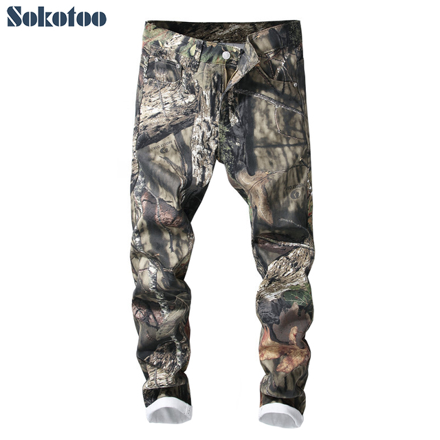 Sokotoo Men's 3D printed jeans Slim fit camouflage colored painted denim pants