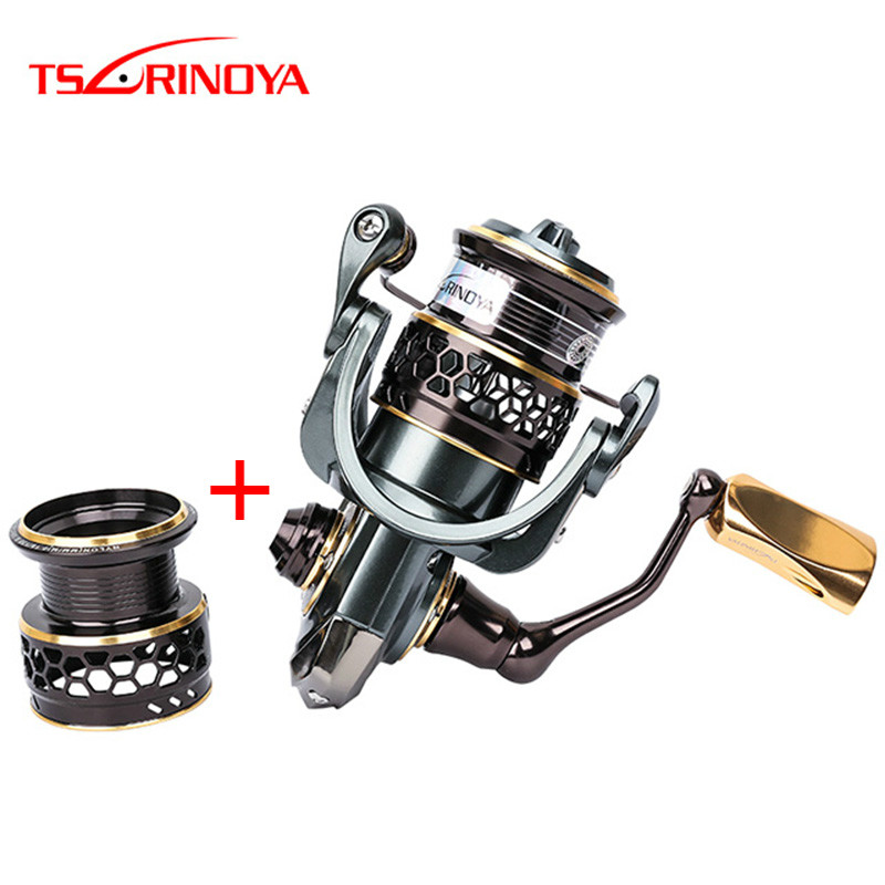 TUSRINOYA Jaguar 1000-5000 Size 10BB Spinning Fishing Reel With A Spare Spool Right/Left Handed Interchange Reel Moulinet Peche