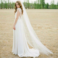 2016 Cheap 2M Cut Edge White Long Bridal VeilsOne Layer Cheap Comb 1T Wedding Veils With