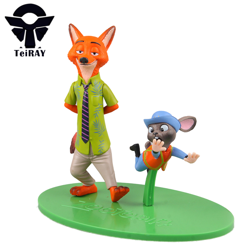 2pcs Anime Figurines Figures Zootopia Fox Nick Wilde Rabbit Judy Hopps pvc action Figure figma Brinquedo Juguetes Toy Kids toys 2016 zootopia figures keychain ring toys doll set 2016 new cartoon animal abbit judy hopps nick fox