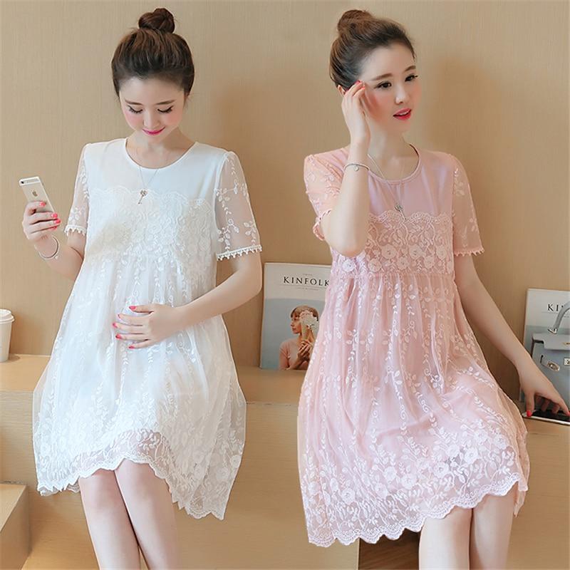Pregnant women summer dress 2018 fashion new lace skirt long loose shirt short sleeve pregnant women skirt summer