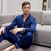 a51bcc639fa47a DANALA jedwabna satynowa piżama ustawia mężczyźni solidna Vogue  orzeźwiający proste mężczyźni nocna ustawia Home garnitury piżamy