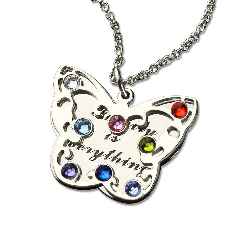 Personalized Butterfly Birthstone Necklace Mom Necklace Silver