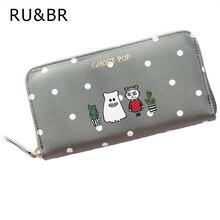 RU&BR Vogue Cute Wallet Women Card Purse Feminina Zipper Long Wallet Animal Print Female Women'S Cash Popular Portable Money Bag