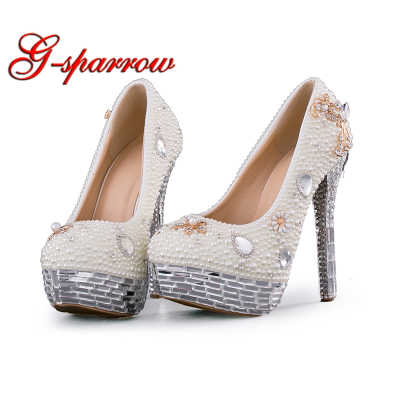 Crystal Wedding Shoes Plus Size White Pearl Bridal Dress Pumps New Design Luxury Rhinestone Platform Prom Event High Heels стоимость