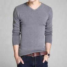 2017 новый зимний мужской свитер мужской V-образным Вырезом свитер дна Тонкий сплошной цвет с длинными рукавами свитер Горячие Продажи