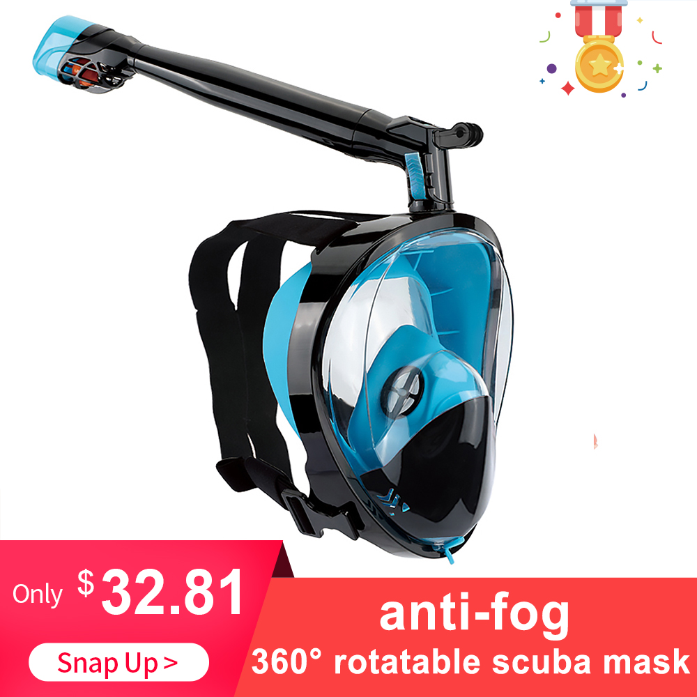 Anti fog Snorkeling Full Face Mask 360 Rotatable Snorkel Swimming Scuba Mask with Detachable Camera Mount