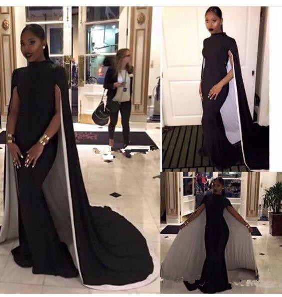 2017 Mermaid Black Girl Prom Dresses With Cape High Neck
