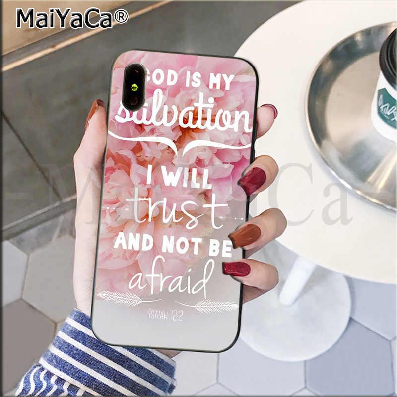 MaiYaCa Bíblia Jesus Cristo Christian Cruz design Inteligente Preto Casca Mole Caso de Telefone para o iphone 8 7 6 6S além de 5 5S SE XR X XS MAX