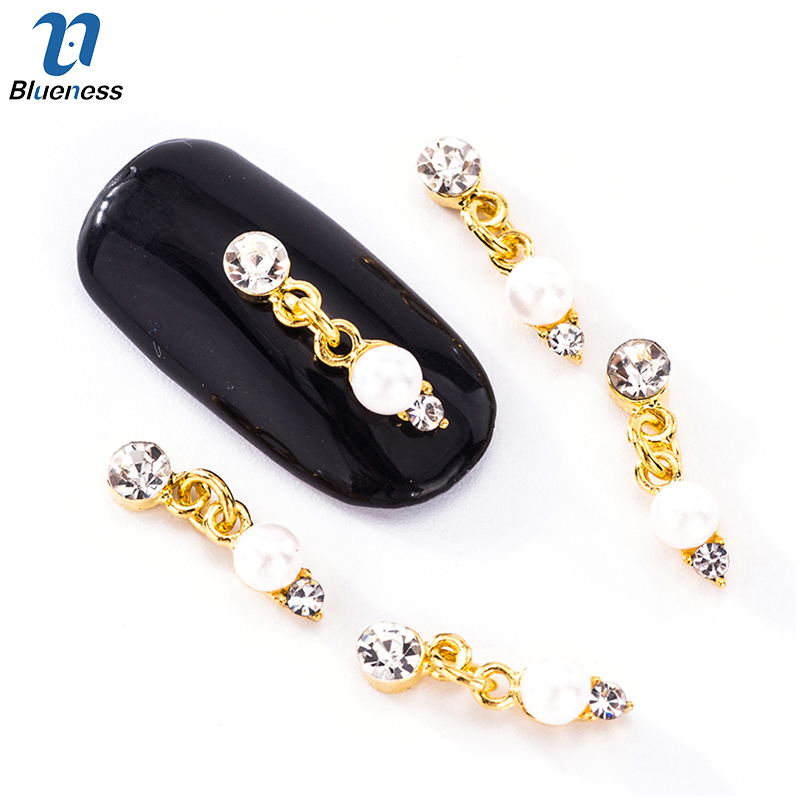 10Pcs/lot Nail Art Series Connection Creative Design Gold Alloy Pearl Jewelry 3D Decorations Nail Art Accessory Studs TN2031 10pcs gold 3d rudder metal flower pearl music note mixed rhinestones cross nail art decoration jewelry nails supplies y180 187