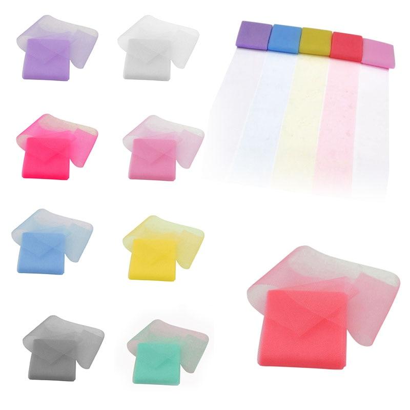 6*500cm 5PCS Soft Tissue Tulle Sheer Organza DIY Craft Kids Pompom Tutu Fabric Birthday Supplies Wedding Party Decoration