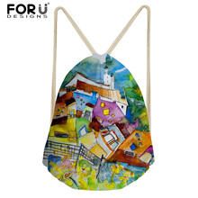 FORUDESIGNS 3D Painting Printed Travel Women Drawstring Bag Fashion Sport Yoga Fitness Bags Small Girls School Backpack Bolsa