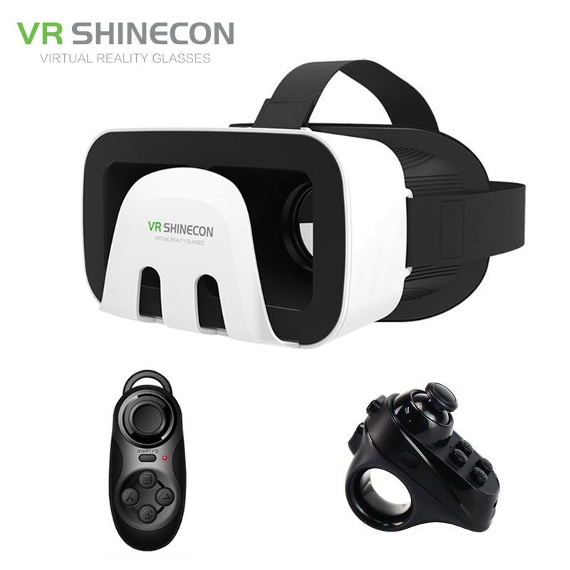 VR Shinecon 3.0 Googles Immersive Virtual Glasses Reality 3D vr box Portable Headset + Remote Controller for 4.5-6′ Mobile Phone