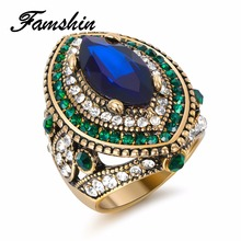 FAMSHIN Luxury Vintage Jewelry Big Wedding Rings For Women Gold Color Mosaic Green Crystal 2018 New Fashion Accessories