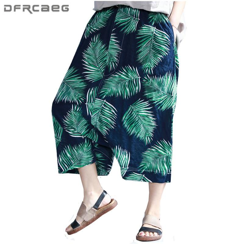 Fiore verde Stampa Elastico In Vita Hip Hop Pantaloni delle donne di Estate  2018 Cotone di Modo Cross-Pantaloni Casual di Grandi Dimensioni Pantaloni  ... 7cf53df1f3b8