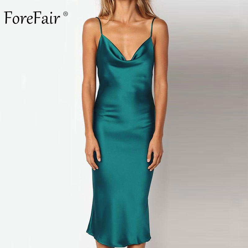 Forefair Summer Satin Dress Women Long <font><b>Sexy</b></font> Spaghetti Strap Green Pink Backless Midi <font><b>Party</b></font> Night <font><b>Club</b></font> Silk Slip Dress <font><b>2018</b></font> image