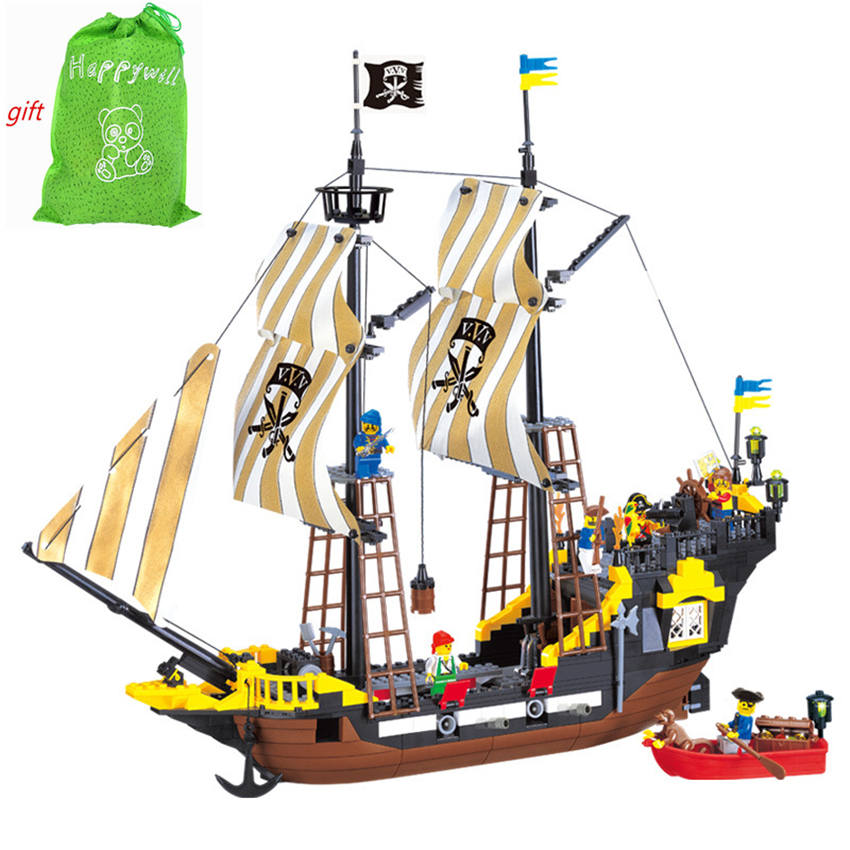 Happywill Building blocks Enlighten 307 590Pcs Pirate Ship Weapons Model Building Kits Blocks Brick Educational Toys for childre 8 in 1 military ship building blocks toys for boys