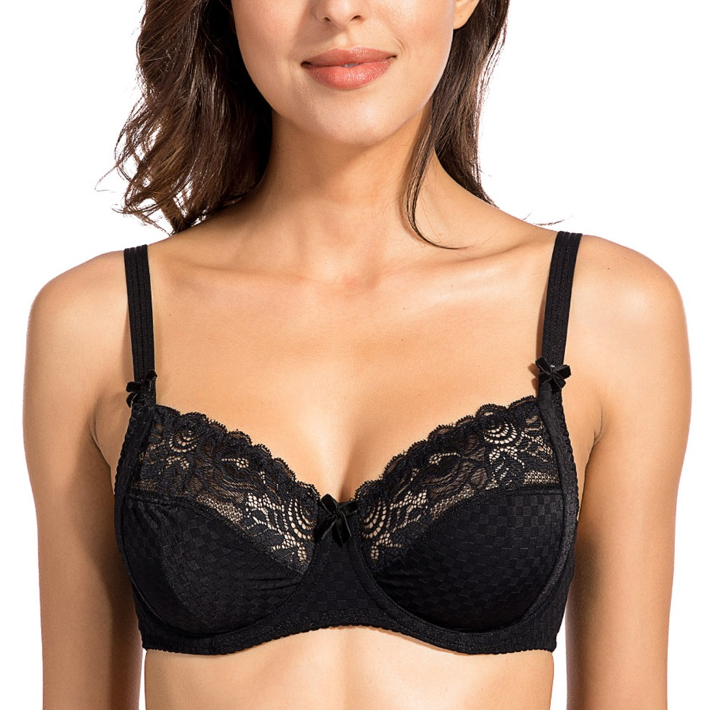 Womens Floral Sheer Lace Unlined Underwire Non Padded Full Figure Plus Size Bra 34-42 B  ...