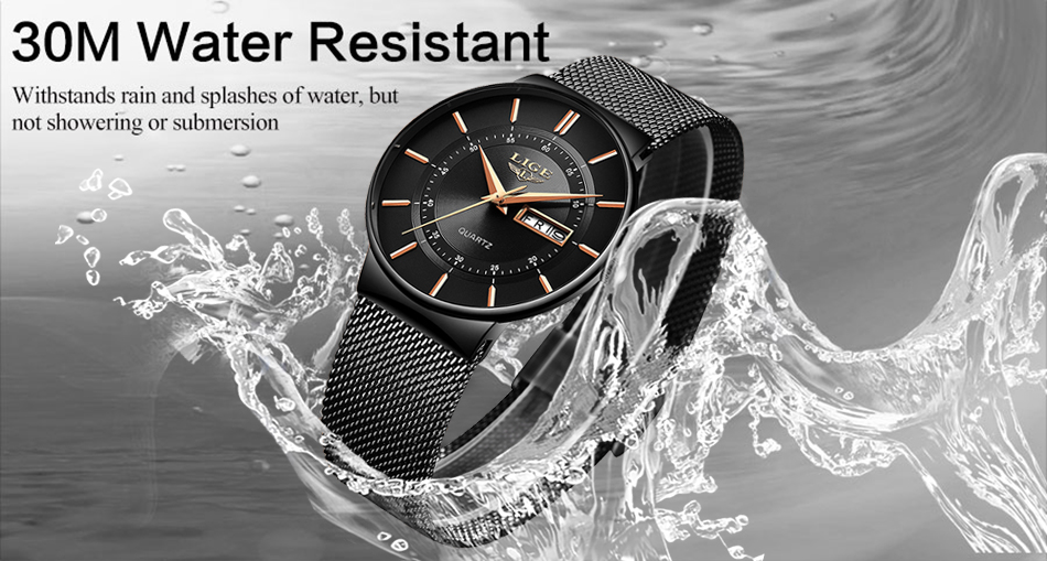 TIDE - Waterproof Ultra Thin Steel Strap Wrist Watch for men