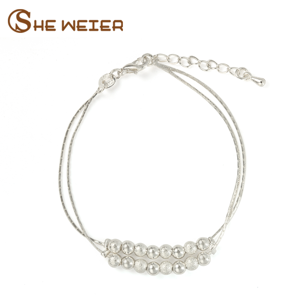 SHE WEIER charms bracelet for women chain link silver gifts femme female pearl bracelet girls braslet beads and bangles