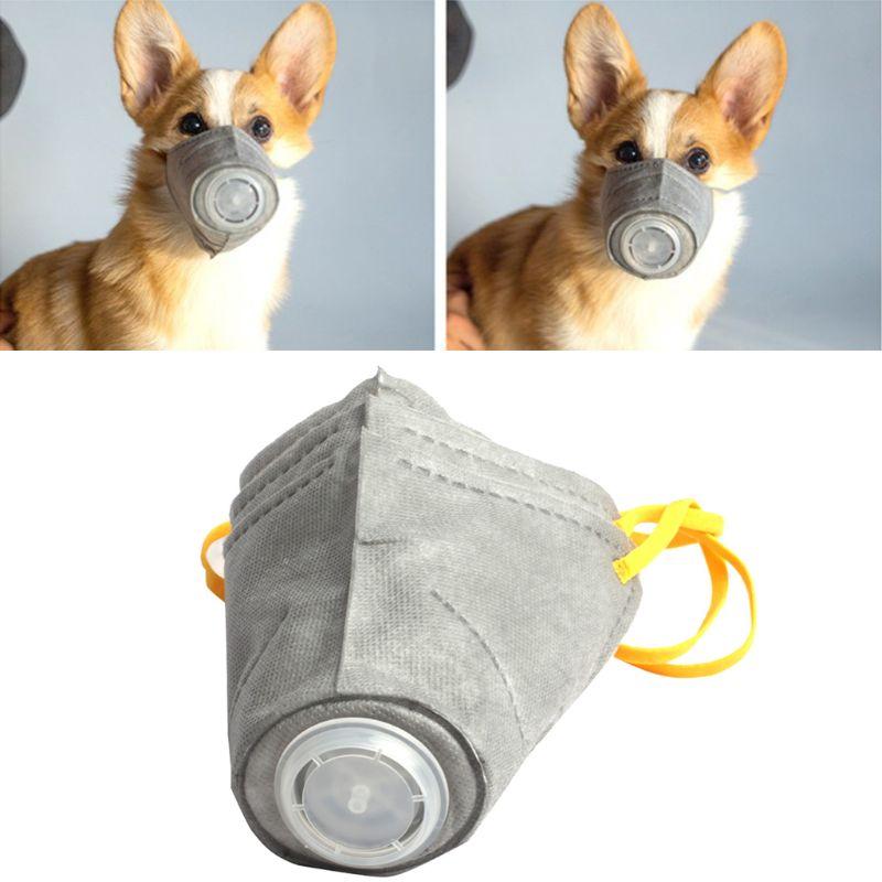 3 Piezas Perro Protector Boca Máscara Para Respiratoria Pm2.5 Filtro Anti-polvo Niebla Cachorro Boca Cubierta