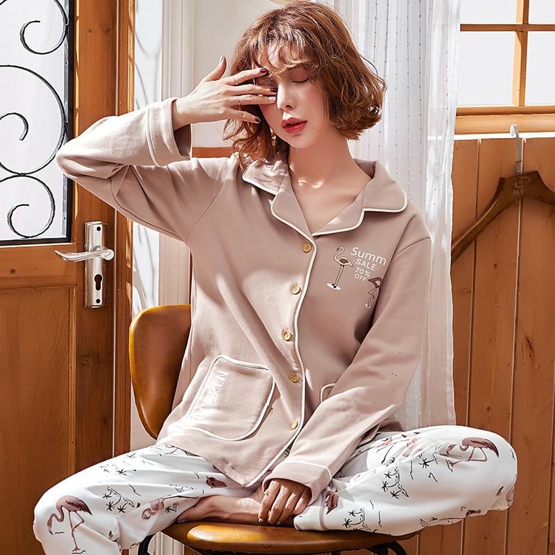 Женские пижамы хлопковый кардиган с длинными рукавами и штаны пижамный комплект ночное белье с принтом животных Женская Осенняя домашняя о