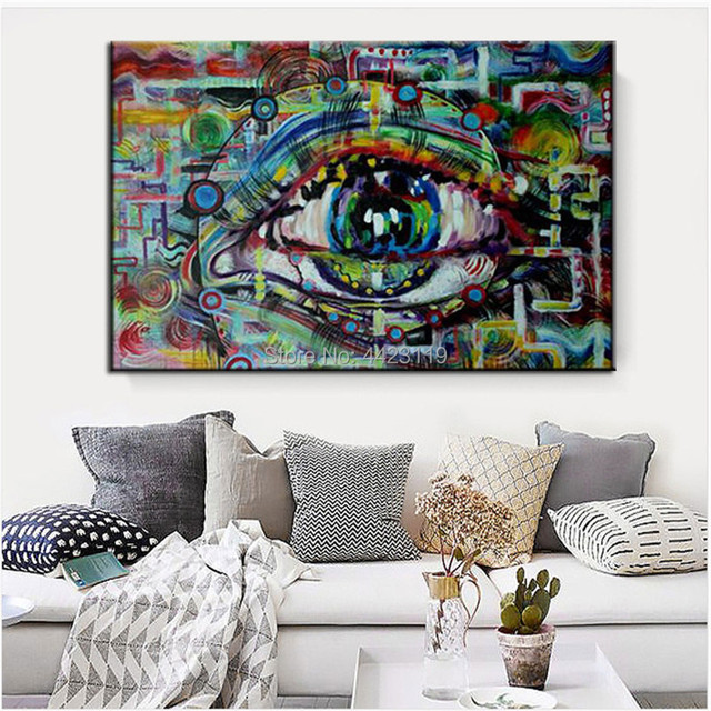 Hand Painted Modern Abstract Oil Painting Eyes Pop Art Design Wall Ideas Canvas Decor Pictures