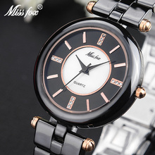 Miss Fox Black Ceramic Watch Fashion Brand Rose Gold Relog Women Ceramic Gift For Girls Butterfly Button Quartz Wrist Watches