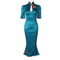 Le palais Винтаж Классический китайский Chipao атласное с юбкой русалкой платье тонкий высокой посадкой сбоку разрезы разработан Платье с вышивко