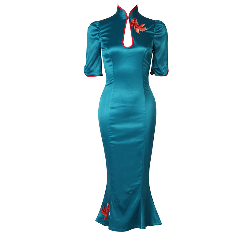 Kadın Giyim'ten Elbiseler'de Le palais vintage Klasik Çin Chipao Saten Mermaid Elbise Ince Yüksek Rise Yan Yarıklar Tasarlanmış Nakış Elbise 2019 Bahar'da  Grup 1
