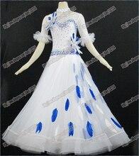 chicken featherModern Waltz Tango Ballroom Dance Dress, Smooth Ballroom Dress,Standard Ballroom Dress Girls B-0005