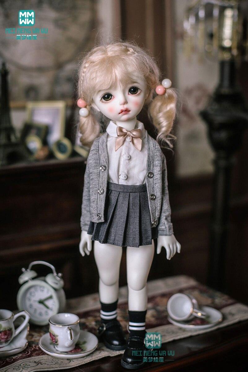 BJD Doll Clothes Fits 27cm-30cm 1/6 BJD Doll Fashion College Style Knit Cardigan / Shirt + Skirt