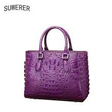 SUWERER 2019 New Women Genuine Leather bag Handmade alligator  luxury leather shoulder bag designer women famous brand tote bag