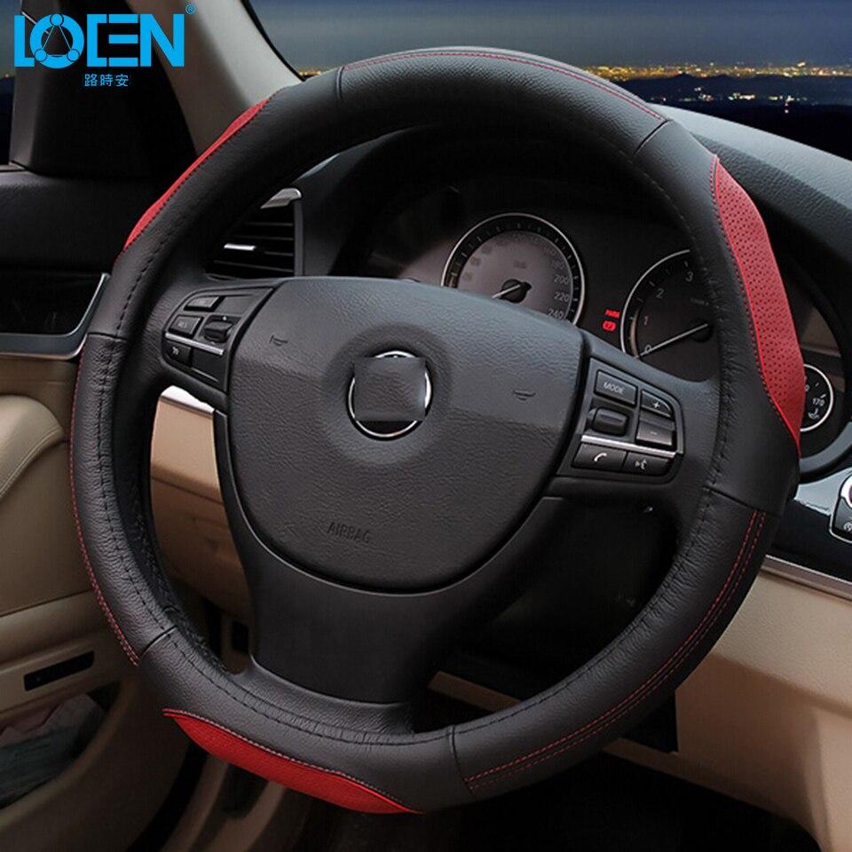 LOEN Cubierta del volante del coche Cuero de vaca Cuero genuino - Accesorios de interior de coche - foto 5