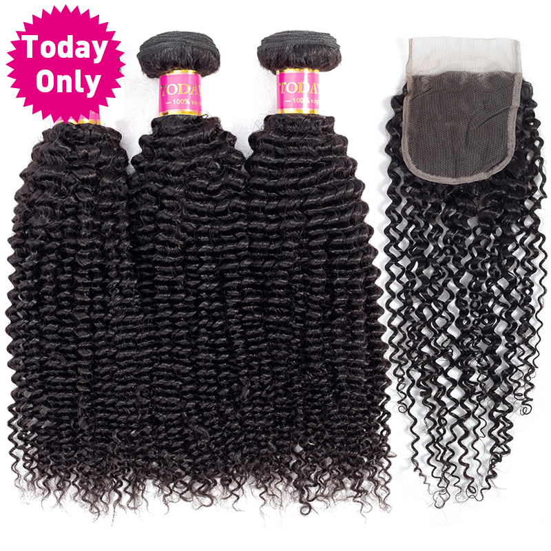 TODAY ONLY Malaysian Curly Hair 3 Bundles With Closure Remy Hair Extensions Deep Curly Weave Human Hair Bundles With Closure