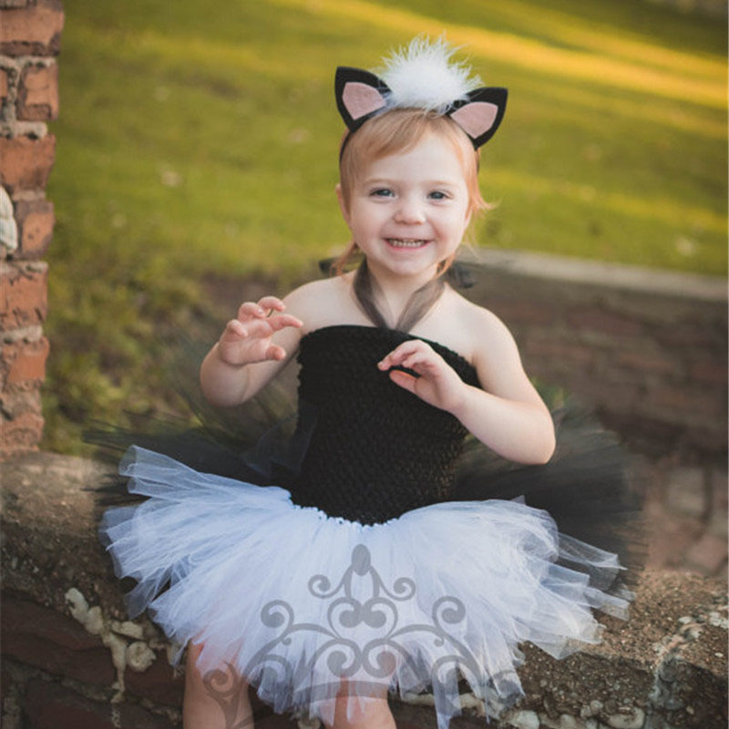 White and Black Kids Girl Party Tutu Dress Children Halloween Christmas Fancy Costume Cosplay Dresses Baby Cartoon Vestido fancy girl mermai ariel dress pink princess tutu dress baby girl birthday party tulle dresses kids cosplay halloween costume