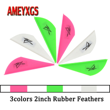 50pcs Archery 2inch Rubber Feather Arrow Feathers Drop-shape Fletches For Outdoor Bow And Arrows Hunting Shooting Accessories
