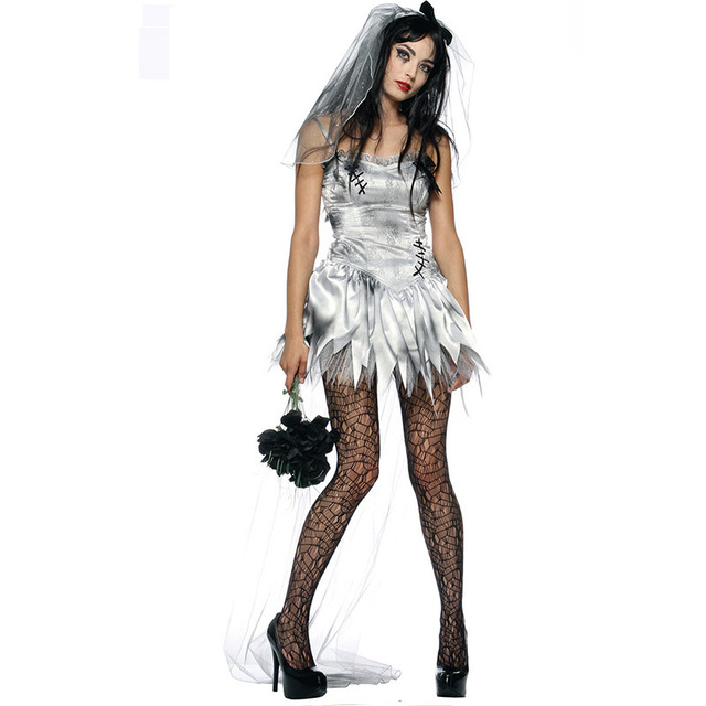 Sexy Gothic Manor Zombie Wedding Corpse Costume Ghost Bride Dress Adult Costume Halloween for Women Cosplay  sc 1 st  AliExpress.com & Sexy Gothic Manor Zombie Wedding Corpse Costume Ghost Bride Dress ...