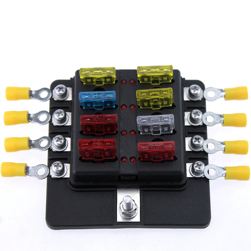 Newest 8 Way Blade Fuse Box Led Indicator Fuse Block For